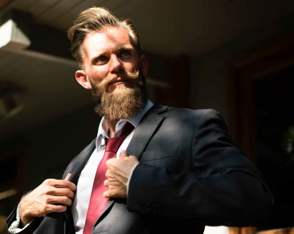 adult beard businessman confidence